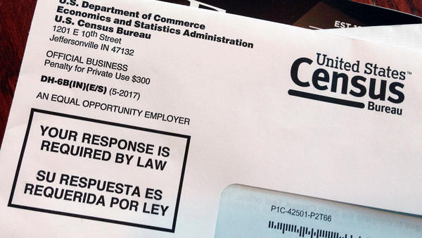 An envelope contains a test questionnaire for the 2020 census mailed to a resident in Providence, R.I., as part of the nation's only test run of the upcoming national headcount. A Trump administration plan to include a citizenship question on the 2020 census has prompted legal challenges from many Democratic-led states.