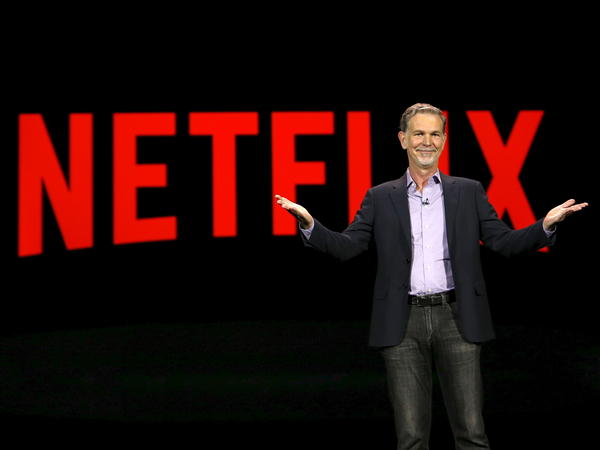 Netflix CEO Reed Hastings delivers a keynote address at the 2016 CES trade show in Las Vegas. Big entertainment rival Disney could challenge the service that made binge-watching popular.