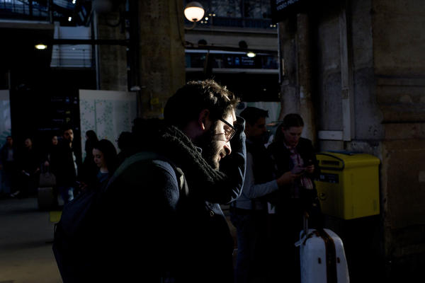 Investigative journalist Thomas Huchon walks to catch a train to Lille, France, where he will teach a class on identifying fake news.<a></a><a></a><a></a>