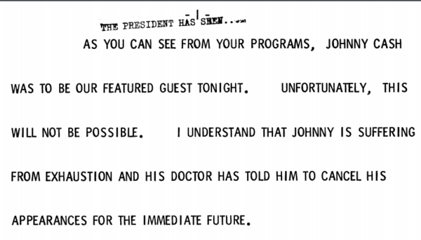 President Ford's remarks introducing Pearl Bailey and explaining why Johnny Cash was a no-show at the October 1975 state dinner.