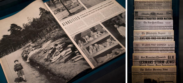 At the close of World War II, when visual evidence of mass murder finally surfaces, Americans can no longer doubt the stories of Nazi cruelty. Still, the narrative is caught up in a blur of other front-page headlines: Americans celebrating the victory over Nazism; Hitler's death; and the death of FDR.