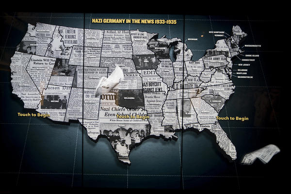 An interactive map shows how each state in the United States reported on the news of Nazism.