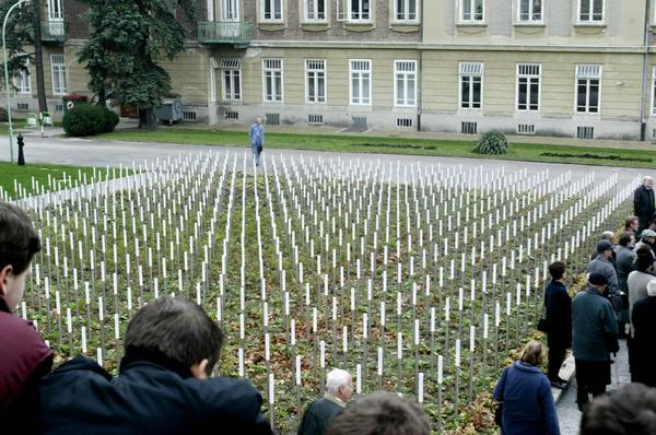 A memorial to victims killed in a Nazi euthanasia program is seen at the Am Spiegelgrund clinic in Vienna in 2003. (Ronald Zak/AP)