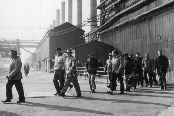 Steelworkers leave a plant at the end of their shift in Bethlehem, Pa., in 1947. Employment in the industry has declined by 80 percent from its peak six decades ago, according to author Douglas Irwin.