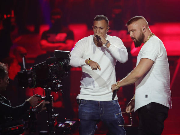 Controversial hip-hop duo Farid Bang (left) and Kollegah, performing at this year's Echo Awards show in Berlin on April 12.