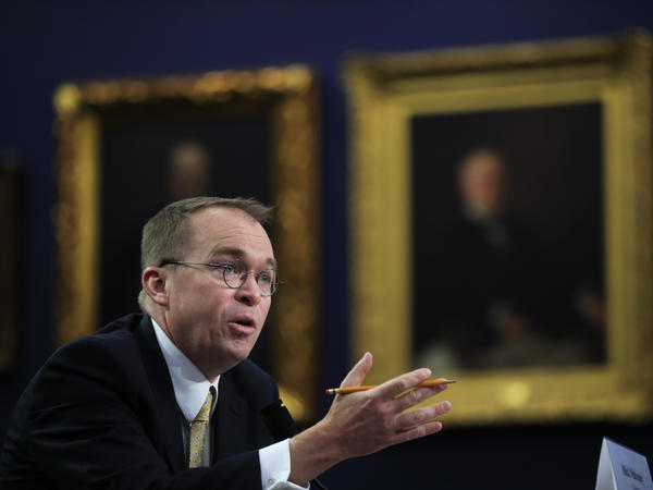 "Mick Mulvaney, acting director of the CFPB, testifies at a House hearing. Mulvaney says he doesn't need to run ""a Yelp for financial services sponsored by the federal government."""