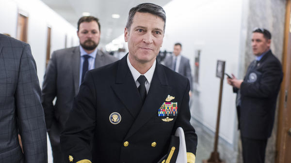 Rear Adm. Ronny Jackson, nominee for veterans affairs secretary, leaves the Dirksen Building afte meeting with Sen. Jerry Moran, R-Kan., on Tuesday.