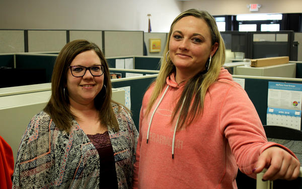 Erica Galvan (right) found a better job and is set go off SNAP after enrolling in a Nebraska job-training program being overseen by case manager Michaela Funkhouser (left). The program is similar to what congressional Republicans are pushing.