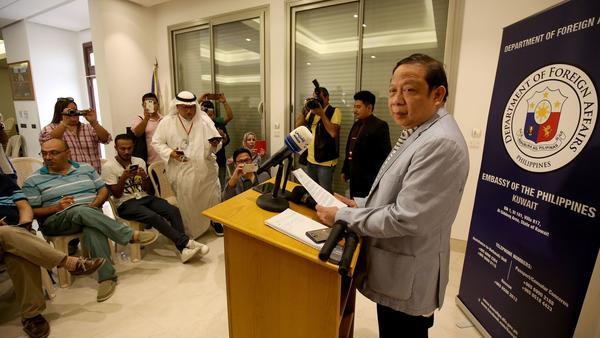 Renato Villa, the Philippine ambassador to Kuwait, speaks during a press conference at the embassy in Kuwait City last week.