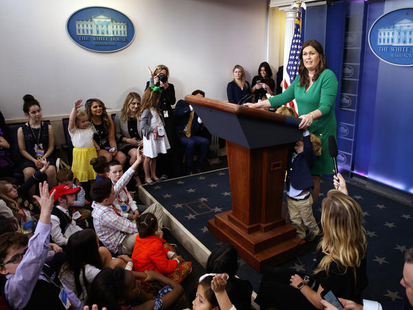 White House Press Secretary Sarah Sanders conducts a briefing with children of the White House press corps and staff Thursday.