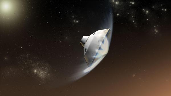 The heat shield is designed to protect the Mars 2020 mission in the initial stages of its descent and landing.