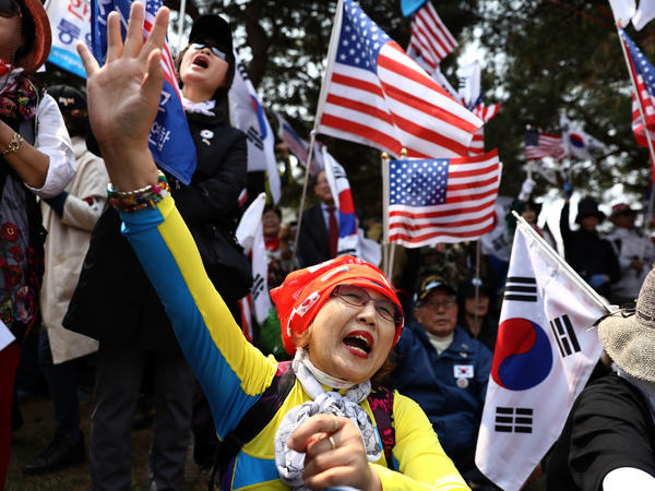 South Koreans opposed to the summit protest on Friday in Paju, South Korea, near the meeting site in Panmunjom.