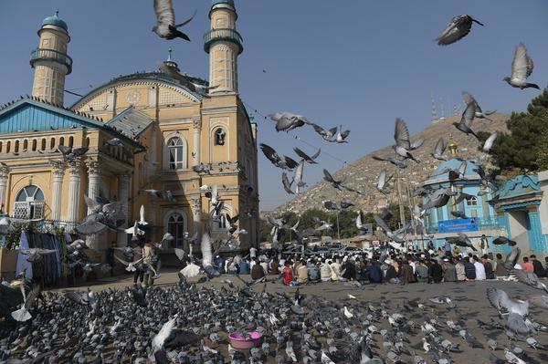 Afghan men offer Eid al-Adha prayer at the Shah-Do Shamshira mosque in Kabul on Sept. 12, 2016.