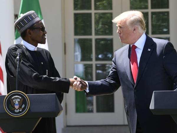 President Trump and Nigerian President Muhammadu Buhari hold a joint news conference in the Rose Garden of the White House on Monday.