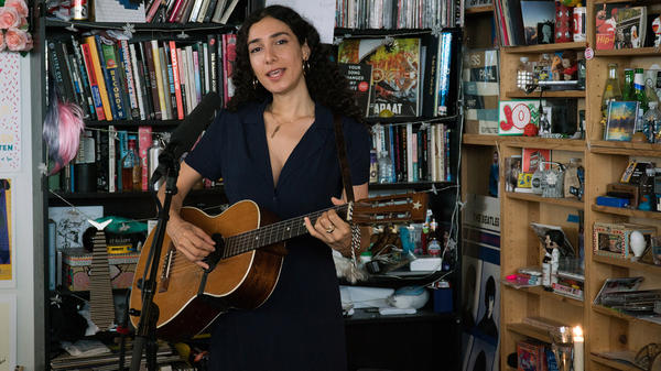 Bedouine performs a Tiny Desk Concert on April 16, 2018 (Bob Boilen/NPR).