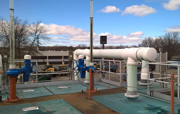 Part of the Springfield Water and Sewer treatment plant on the Connecticut River, 2017.