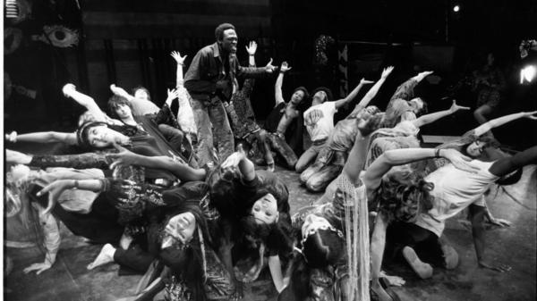 Actors rehearse a dance scene for the 1968 London production of the musical <em>Hair</em>.