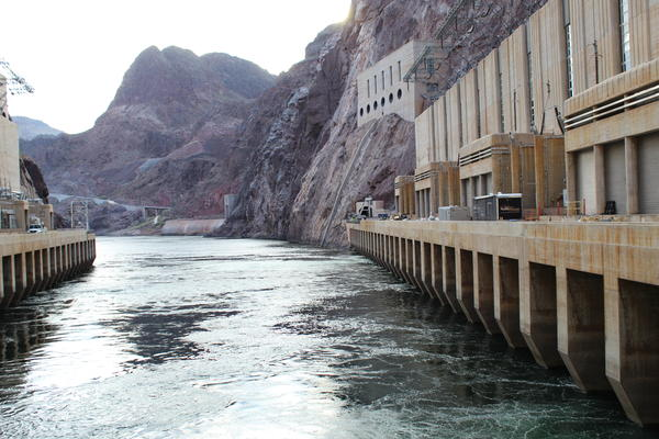 Water is released from Lake Mead outside Las Vegas through Hoover Dam. The reservoir's level is at the center of a dispute over water conservation between the river's Upper and Lower Basin states.
