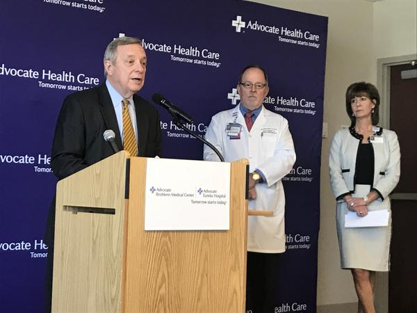 U.S. Sen. Dick Durbin, left, with Dr. James Nevin and Colleen Kannaday from Advocate BroMenn and Advocate Eureka.