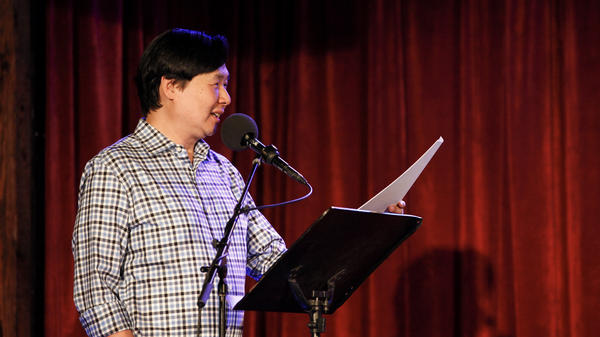 Puzzle Guru Art Chung, leads the final round on Ask Me Another at the Bell House in Brooklyn, New York.