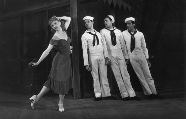Dancers from The American Ballet Theatre perform Robbins' ballet <em>Fancy Free </em>in 1946.