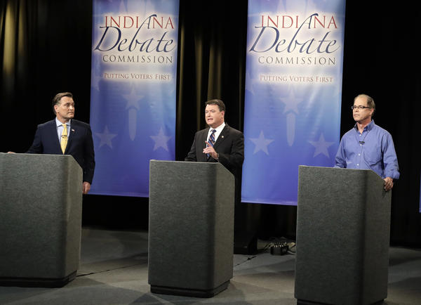 Senate candidates Luke Messer, Todd Rokita and Mike Braun, from left, participate in a Indiana Republican Senate Primary Debate, Monday, April 30, 2018, in Indianapolis.