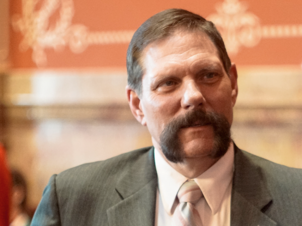 Sen. Randy Baumgardner, R, Hot Sulphur Springs, on the Senate floor May 1, 2018.