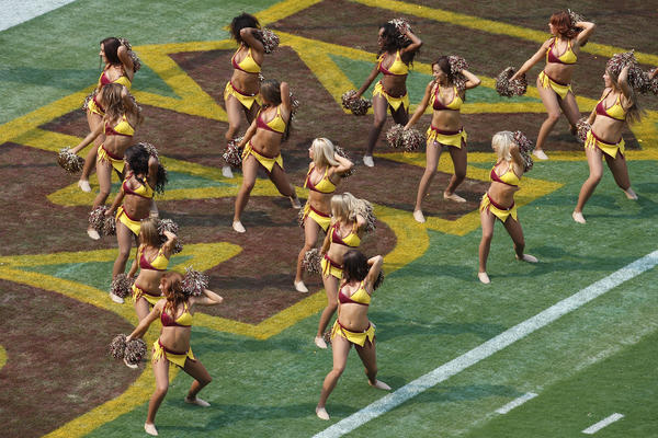 Washington's football team is facing allegations from its cheerleaders about the way they were treated on a 2013 trip to Costa Rica. Here, the squad warms up before an NFL preseason game in 2014.