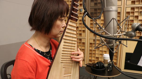Wu Man plays the pipa live at NPR's studios in Washington, D.C.