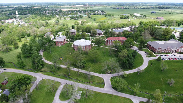 An aerial view of the pastures and barns on campus at Midway University, located in Kentucky's world-famous horse country.