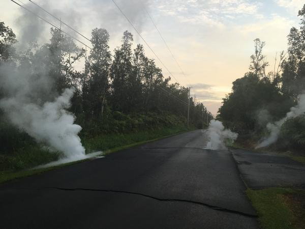 Steaming cracks at 5:57 local time in Leilani Estates subdivision, moments before a fissure opened up on Kaupili Street.