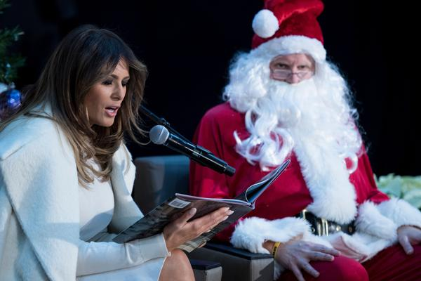 Melania Trump reads to patients at Children's National Medical Center on December 7, 2017.