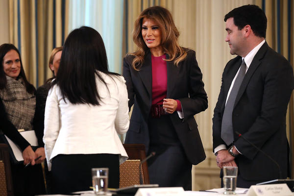 Melania Trump hosts a roundtable discussion on cyber safety and technology with industry experts at the White House March 20, 2018. In the first major policy push in her effort to combat cyberbullying, the first lady talked with tech giants about how they are combating online harassment and promoting Internet safety.