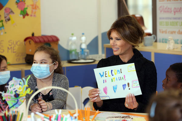 First Lady Melania Trump Visits a Paediatric Hospital in Italy on May 24, 2017.