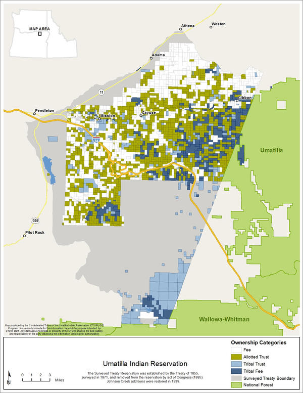 This map shows the complex tribal ownership of lands across the reservation. Resource managers say it's hard to put treatments on the landscape like thinning and prescribed fire with so many boundaries and neighbors.