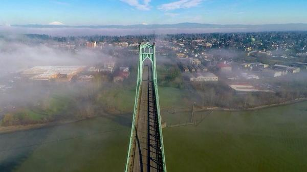 <p>The St. Johns bridge was designed by David Steinman and completed in 1931. Today, the bridge is painted ODOT Green, but itwas initially supposed to be black with yellow stripes.</p>