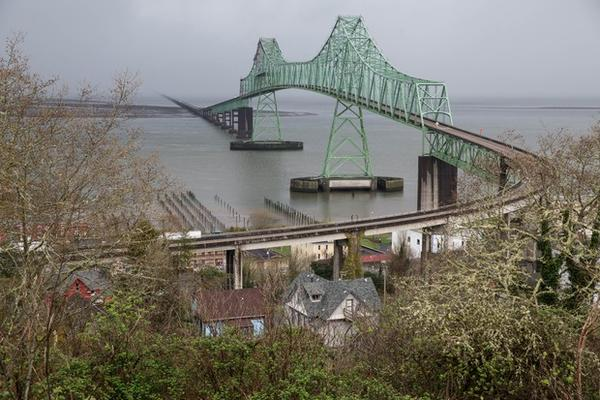 """<p>The Astoria-Megler bridge, designedby Conde McCullough, stretches 4.1 miles between Oregon and Washington. It has been featured in movies such as """"The Kindergarten Cop,"""" """"Short Circuit"""" and """"The Goonies.""""</p>"""