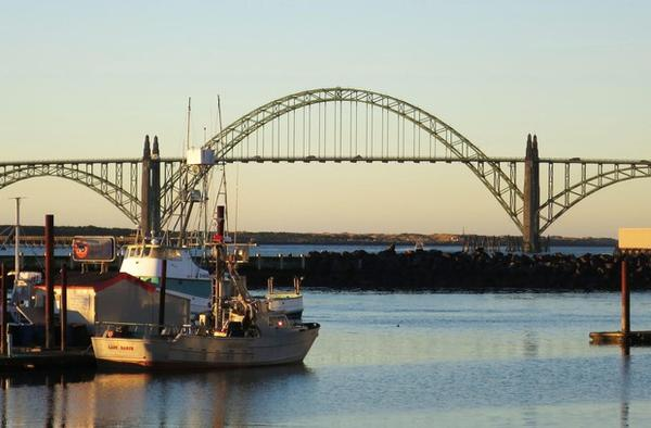 <p>The Yaquina Bay Bridge was designed by Conde McCullough and completed in 1936.</p>