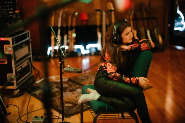 Canadian singer Tenille Townes listens in the studio of Nashville producer Jay Joyce while recording her debut album.