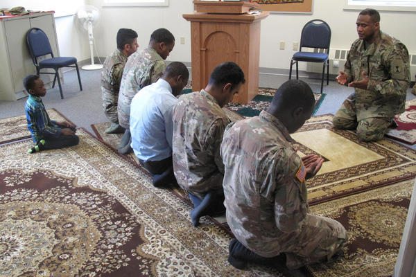 Lt. Col. Khallid Shabazz leads Friday prayer for the Muslim community of Joint Base Lewis-McChord. Shabazz is the Army's first division-level Muslim chaplain.