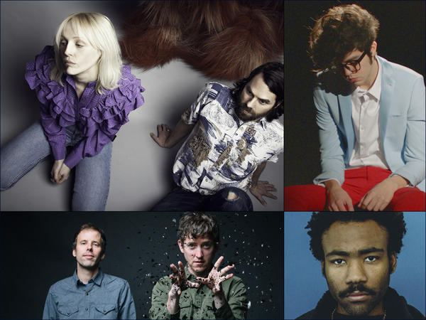Clockwise from upper left: Laura Marling and Mike Lindsay of LUMP, Will Toledo of Car Seat Headrest, Childish Gambino, Ages And Ages