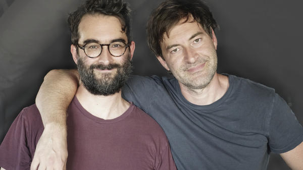 Brothers Jay (left) and Mark Duplass have been making films together since they were kids. Their new memoir is <em>Like Brothers.</em>