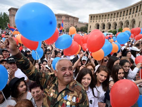 Nikol Pashinyan's supporters gather in Republic Square, the central plaza of Yerevan, as Armenian lawmakers vote on the opposition leader's bid for prime minister. On Tuesday, one week after they rejected that bid, lawmakers relented and elected him premier.