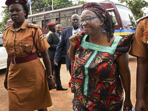 "Stella Nyanzi arrives at the High Court in Kampala, Uganda, in April 2017. She had been jailed for ""cyber-harassment"" of the president."