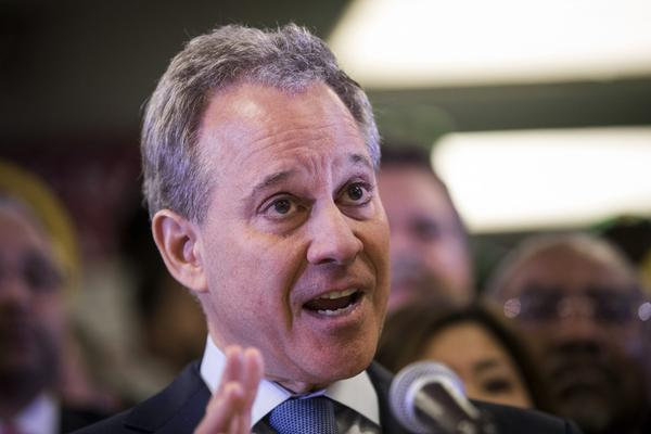 New York Attorney General Eric Schneiderman speaks at a press conference to announce a multi-state lawsuit to block the Trump administration from adding a question about citizenship to the 2020 Census form, at the headquarters of District Council 37, New York City's largest public employee union, April 3, 2018 in New York City. (Drew Angerer/Getty Images)