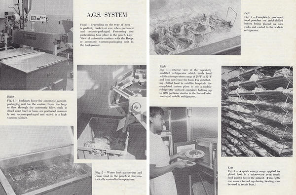 """Illustrations of how the A.G.S. system portioned and cooked food, featured in the May 1969 issue of <em>Cornell Hospital & Restaurant Administration Quarterly </em>magazine. Col. Ambrose McGuckian, the author's step-grandfather, wrote in the magazine about the """"water bath cooking"""" technique he'd developed — which sounds an awful lot like what we now know as sous vide."""