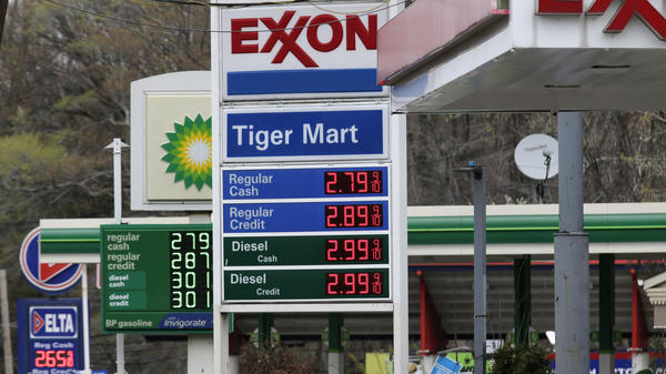 Gas stations display the price of gasoline in Englewood, N.J., on April 30.