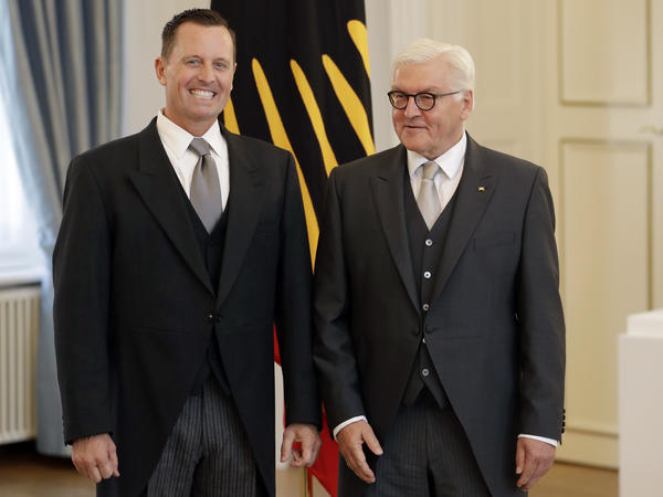 U.S. Ambassador to Germany Richard Grenell (left) and German President Frank-Walter Steinmeier greet the media during Grenell's accreditation process at the Bellevue Palace in Berlin on Tuesday.