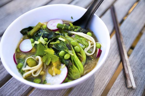 Miso-ginger broth with udon noodles and asparagus. (Jesse Costa/WBUR)