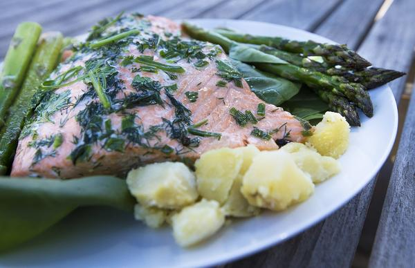 Kathy's salmon, asparagus and potato salad. (Jesse Costa/WBUR)
